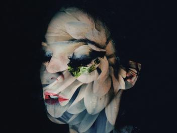 花朵 x人像 重複曝光 作品,挑戰 攝影 減法藝術 思維