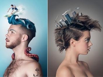 建築於髮型之上的超現實主義人像攝影作品