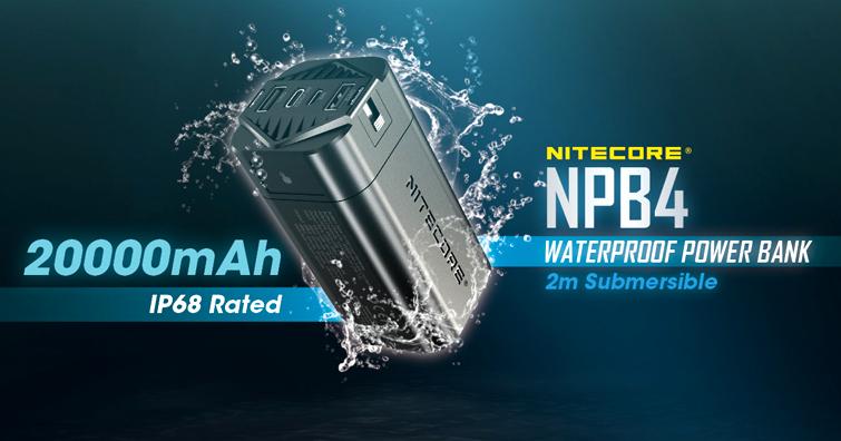 【戶外野趣】全球唯一達到IP68防護等級,水下2米亦能使用的防水行動電源 — NITECORE NPB4