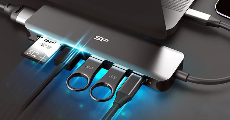 SP廣穎電通首推七合一HUB轉接器新品-SU20,徹底解決電腦 ∕ 平板接口不足問題